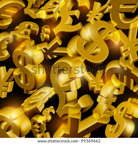 Rain from the golden currency symbols - stock vector