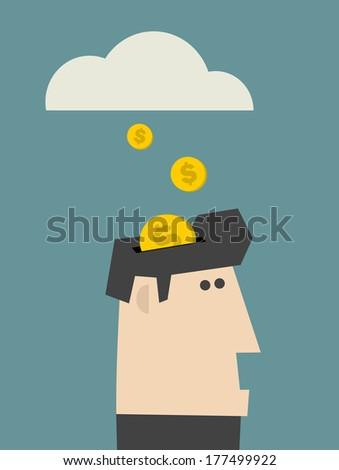 Rain of coins. Vector illustration. - stock vector