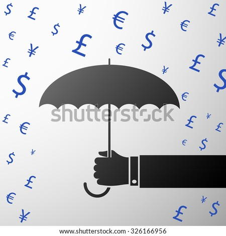 Rain of currencies. Human hand holding an umbrella. Stock vector illustration.
