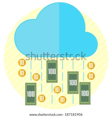 Rain of money - stock vector