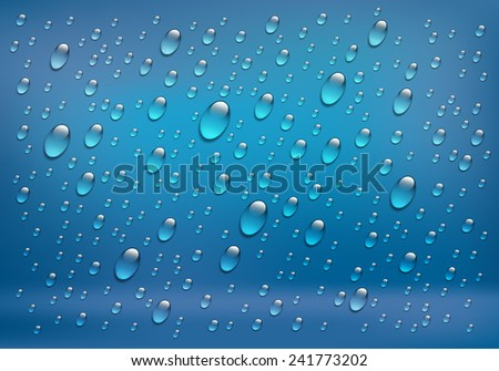 Rain on glass. Water drops isolated on blue background. Vector art illustration.  - stock vector