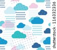 Rain seamless pattern with drops and clouds - stock vector
