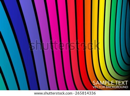 Rainbow abstract curved background vector illustration - Abstract vector colorful striped rainbow background template - stock vector