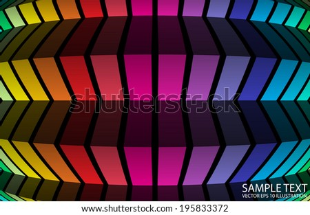 Rainbow abstract vector background illustration - Abstract vector lined rainbow template - stock vector