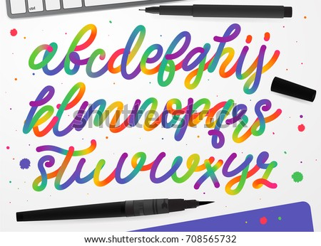 Rainbow Alphabet Colorful Vector Kids Fluid Color Font Cursive Letter