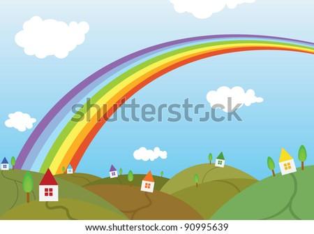 Rainbow and a little dream village - stock vector