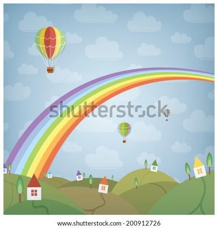 Rainbow and a little dream village, eps10 - stock vector