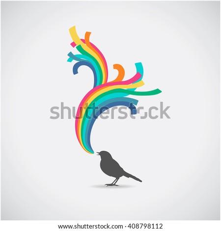 Rainbow and bird. Vector illustration. Happy day card. - stock vector