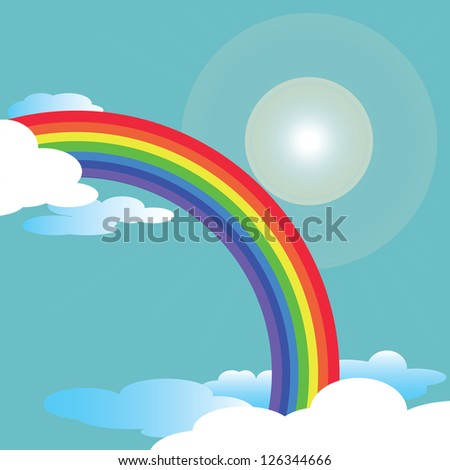 Rainbow and blue sky with flare vector