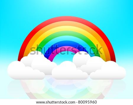 Rainbow and clouds illuminated and reflected. EPS8 file and high resolution JPEG. Easy to edit and change. - stock vector
