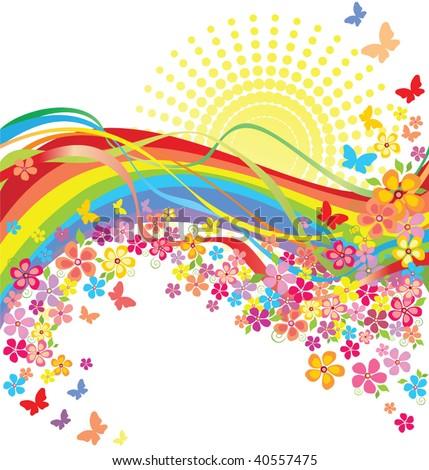 Rainbow and flowers - stock vector
