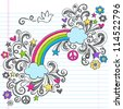 Rainbow and Peace Sign Dove Back to School Sketchy Notebook Doodles with Stars and Swirls- Hand-Drawn Vector Illustration Design Elements on Lined Sketchbook Paper Background - stock vector