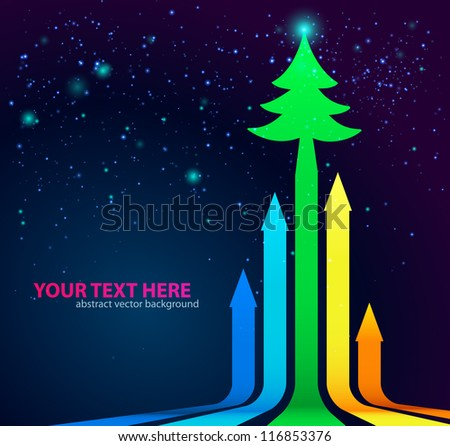 Rainbow Arrows Background with Christmas Tree on top. Vector illustration. - stock vector