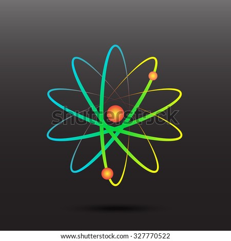 Rainbow atomic energy symbol icon. Abstract circles transition. - stock vector