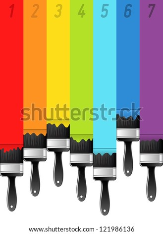 Rainbow background with brushes and numbers. Vector illustration. - stock vector