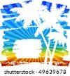 Rainbow background with palm trees - stock vector