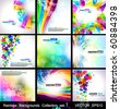 Rainbow Backgrounds Collection - 9 Flyer or brochures with colorful abstract motive - Set 1 - stock vector