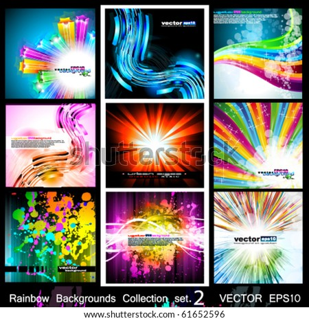 Rainbow Backgrounds Collection - 9 Flyer or brochures with colorful abstract motive - Set 2 - stock vector