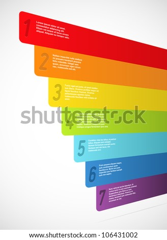 Rainbow banners with numbers. Vector illustration.