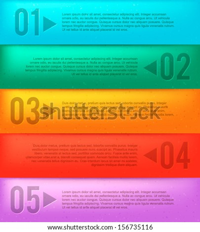 Rainbow banners with numbers. Vector illustration for your business artwork. - stock vector