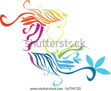 Rainbow beauty Lady - stock vector