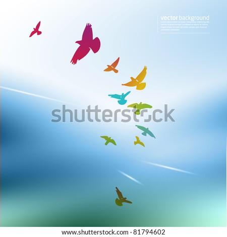 rainbow birds - stock vector