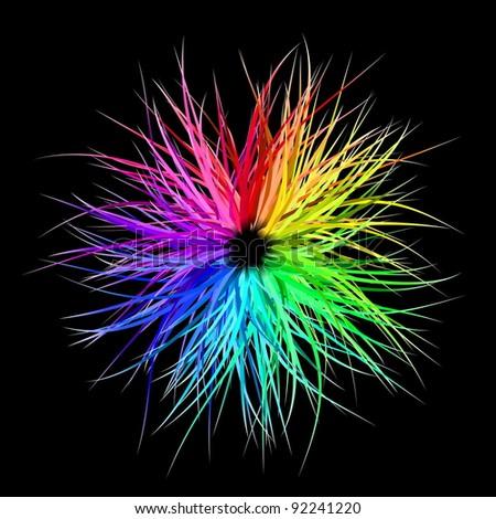 Rainbow Burst - stock vector
