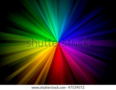 Rainbow Burst Background (Vector) - stock vector