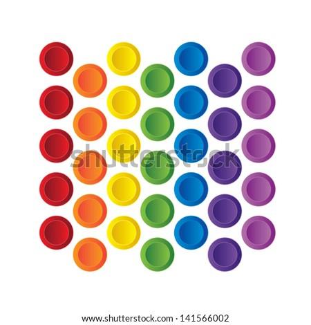 rainbow buttons - stock vector
