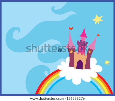 Rainbow castle Vector illustration of castle and a rainbow - stock vector