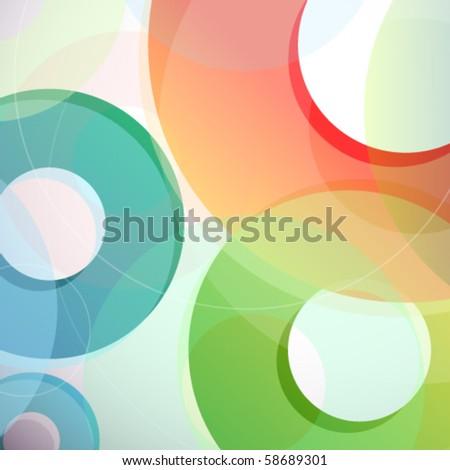 Rainbow circles abstract vector background - stock vector