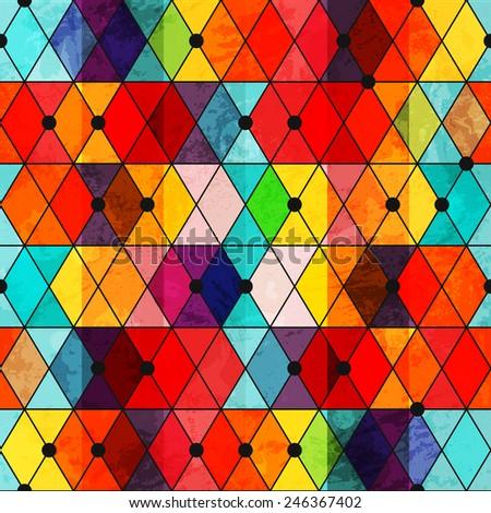 rainbow color mosaic seamless pattern - stock vector