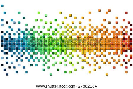 rainbow color pixel - stock vector