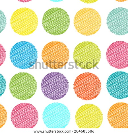 rainbow color Polka dot background, seamless pattern. embroidery stitches. scribble dot on white background. Vector
