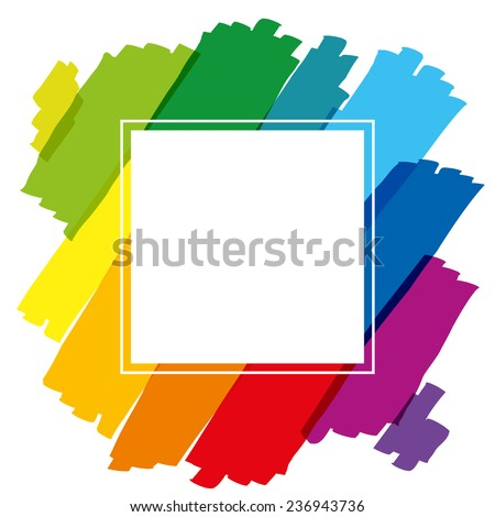 Rainbow colored brush strokes forming a colorful square frame. Isolated vector illustration on white background. - stock vector