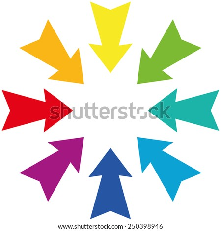 Rainbow colored centripetal darts showing to the center. Isolated vector illustration on white background. - stock vector