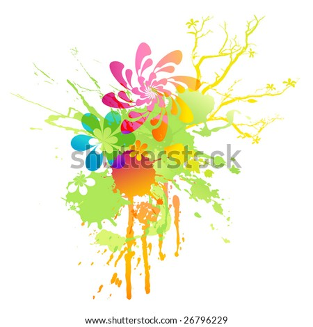 rainbow-colored floral spring splat