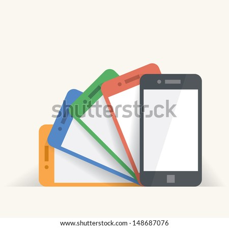 Rainbow colored mobile phones presentation