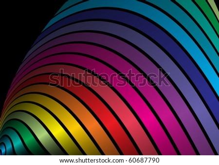 Rainbow colored vector  arcs spreading - stock vector