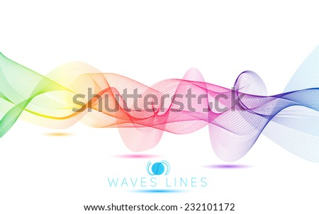 rainbow colorful gradient light waves line bright abstract pattern vector