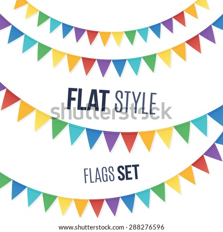 Rainbow colors flat style vector holiday flags garlands set on white background - stock vector