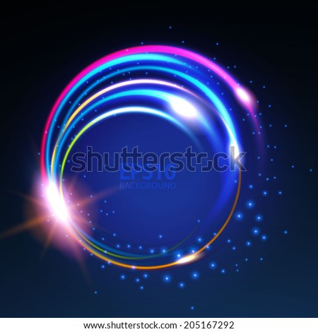 Rainbow colors shining neon lights twirl. Vector illustration - stock vector