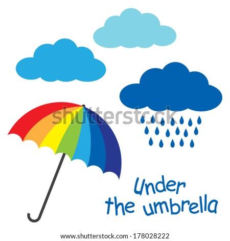 rainbow colors umbrella clouds rain text under an umbrella vector - stock vector