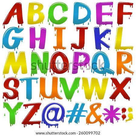 Rainbow coloured big letters of the alphabet on a white background - stock vector