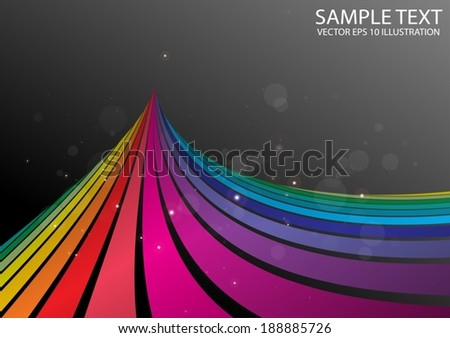 Rainbow curved color abstract background  illustration - Colorful striped background illustration template - stock vector