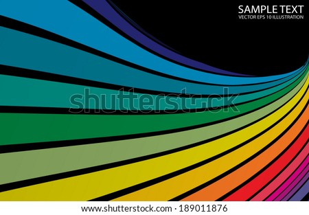 Rainbow curved vector background rainbow  template - Colorful vector twisted  background illustration - stock vector