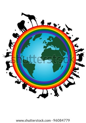 Rainbow earth - stock vector