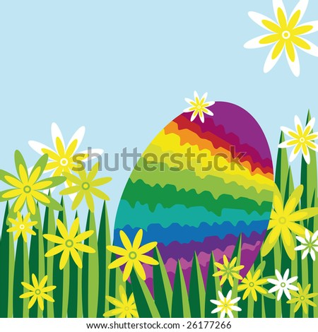rainbow easter egg hidden in a meadow covered with flowers