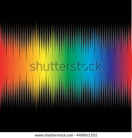 Rainbow equalizer on black background, digital modern colorful sound wave music pattern  vector design illustration used on musical sites, advertisements, banners, cards, web interfaces - stock vector