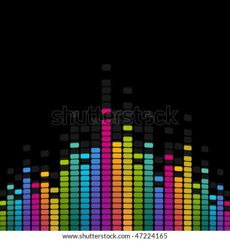 Rainbow equalizer vector background - stock vector